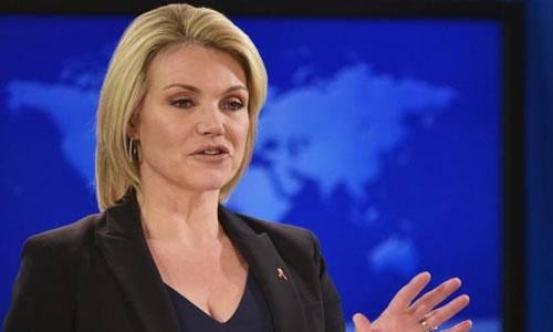 Phát ngôn viên Bộ Ngoại giao Mỹ Heather Nauert. Ảnh: AFP.