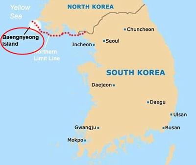 Thuyền chở sĩ quan Triều Tiên đươc phát hiện gần đảoBaengnyeong. Đồ họa:ONN.