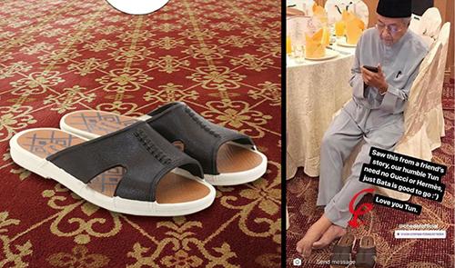 Đôi dép Bata mà Thủ tướng Malaysia Mahathir đi. Ảnh: Instagram, Facebook