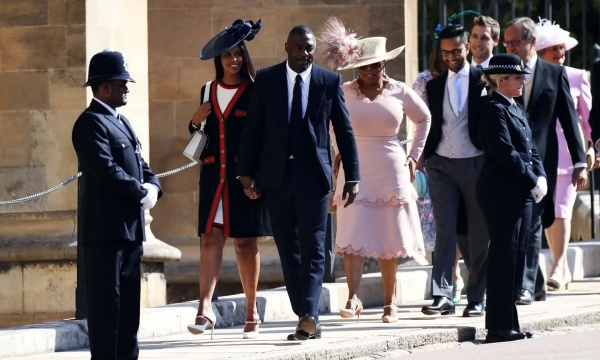 Sabrina Dhowre, Idris Elba and Oprah Winfrey arrive at the royal wedding Photograph: Chris Jackson/Getty Images