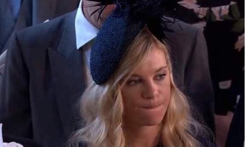 Chelsy Davy tại lễ thành hôn của Hoàng tử Harry. Ảnh: Twitter.