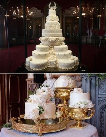 Bánh cưới của Hoàng tử William (trên), và bánh cưới của Hoàng tử Harry (dưới). Ảnh: Mirror.