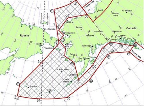 ADIZ Alaska (gạch chéo) là không phận quốc tế. Đồ họa:Wikipedia.
