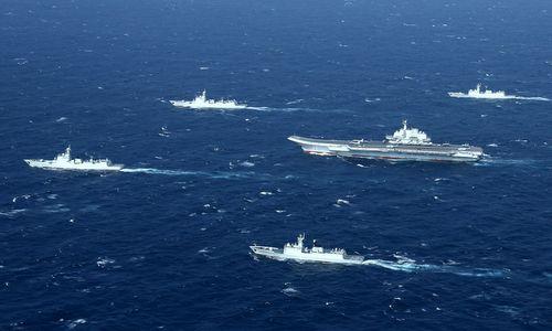 Nhóm tác chiến tàu sân bay Liêu Ninh gần eo biển Đài Loan. Ảnh: SCMP.