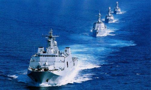 Nhóm tàu đổ bộ của Trung Quốc. Ảnh: Sina.