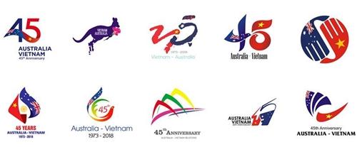 Các tác phẩm đoạt giải nhì cuộc thi thiết kế logo 45 năm quan hệ Việt Nam - Australia. Ảnh: AustraliainVietnam.