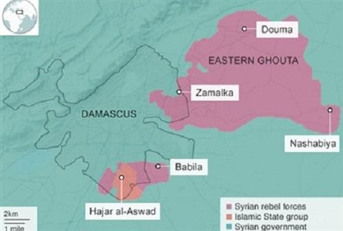 Vị tríquận Hajar al-Aswad, ngoại ô Damascus. Đồ họa: BBC.