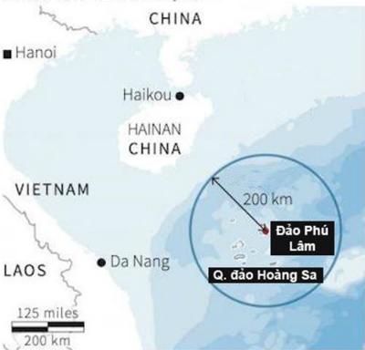 Phạm vi khống chế của tên lửa HQ-9 đặt trên đảo Phú Lâm. Đồ họa:Reuters.