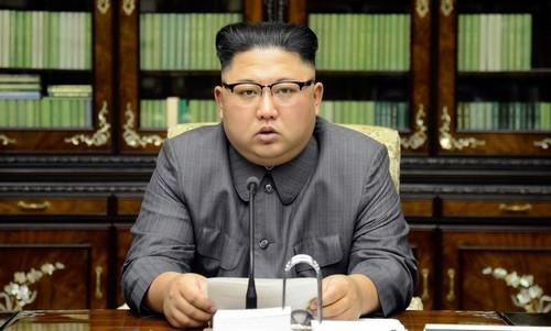 Kim Jong-un đọc thông điệp phê phán Trump hồi năm 2017. Ảnh: Reuters.