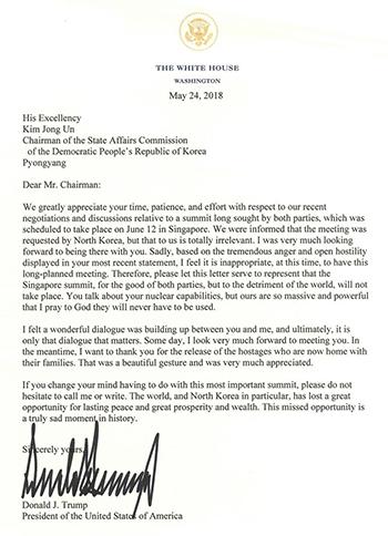 Bức thư Tổng thống Mỹ gửi lãnh đạo Triều Tiên thông báo hủy hội nghị thượng đỉnh Mỹ - Triều. Ảnh: CNBC.
