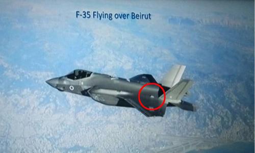 Thiết bị tăng RCS (khoanh đỏ) của F-35I khi bay trên bầu trời Lebanon. Ảnh: IAF.