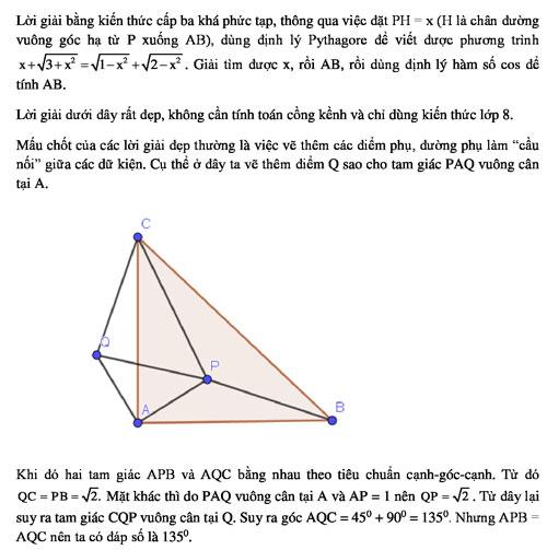 Đáp án bài toán khó của lớp 12 bằng kiến thức lớp 8 - 1