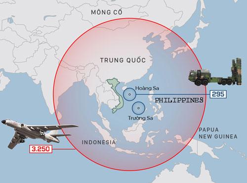 Tầm hoạt động của các khí tài Trung Quốc triển khai trái phép đến Biển Đông. Bấm vào ảnh để xem chi tiết.