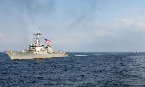 Tàu chiến Mỹ hoạt động trên Biển Đông. Ảnh: US Navy.