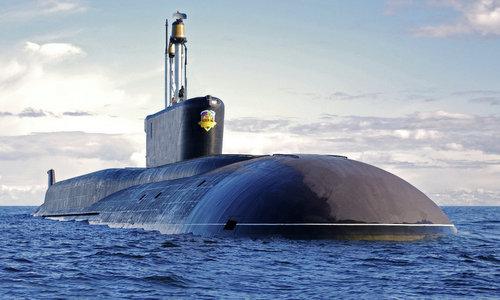 Tàu ngầm Vladimir Monomakh trong một chuyến tuần tra năm 2017. Ảnh: Sputnik.
