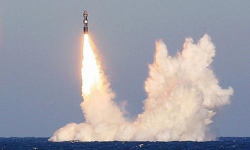 Tên lửa Bulava trong vụ phóng thử hồi năm 2013. Ảnh: TASS.