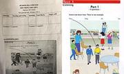 Đề tiếng Anh in đen trắng, nhưng yêu cầu học sinh phân biệt màu