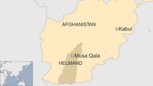Vị trí quận Musa Qala, nơi diễn ra vụ pháo kích của Mỹ. Đồ họa: BBC.