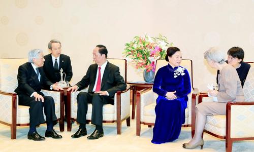 Chủ tịch nước Trần Đại Quang và phu nhân hội kiến Nhật hoàng và Hoàng hậu. Ảnh: TTXVN.