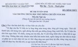 Đề Văn vào lớp 10 trường chuyên Đại học Sư phạm Hà Nội