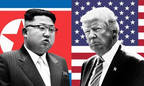 Tổng thống Mỹ Donald Trump và lãnh đạo Triều Tiên Kim Jong-un đều là những lãnh đạo khó đoán. Ảnh: AFP.