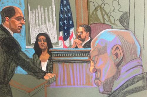 Ký họa cảnh luật sư hỏi nhân chứng. Ảnh: BBC