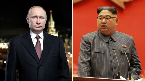 Tổng thống Nga Vladimir Putin và lãnh đạo Triều Tiên Kim Jong-un. Ảnh: Tass, KCNA.