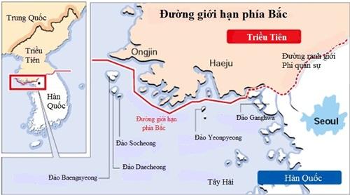 Đường giới hạn phía Bắc (NLL) và Khu Phi quân sự (DMZ) giữa Hàn Quốc và Triều Tiên. Đồ họa: Korea Herald.