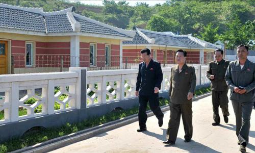 Choe Ryong-hae (thứ hai từ trái sang) tới thăm trang trại Poman hôm 5/6. Ảnh: Rodong Sinmun.
