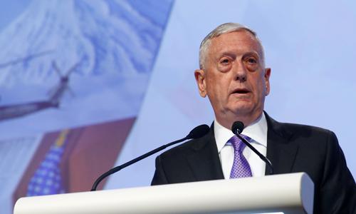 Bộ trưởng Quốc phòng Mỹ Mattis tại Đối thoạiShangri-La ngày 1/6. Ảnh: Reuters.
