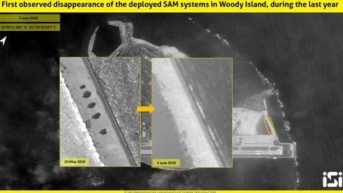 Các bệ phóng tên lửa HQ-9 ở đảo Phú Lâm biến mấttrong ảnh chụp vệ tinh ngày 3/6. Ảnh:ImageSat International.
