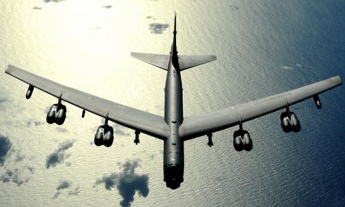 Oanh tạc cơ B-52 bay trên Thái Bình Dương hồi năm 2009. Ảnh:USAF.