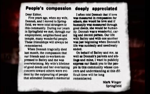 Bức thư cảm ơn của Mark được đăng trên báo.