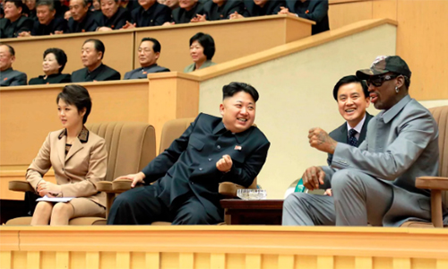 ll player Dennis Rodman heads to North Korea last year  CREDIT: AFP