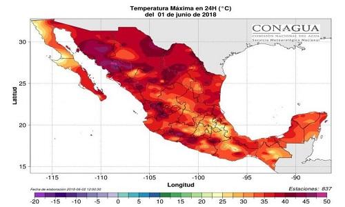 Bản đồ nhiệt hôm 1/6 cho thấy cả nước Mexico chịu ảnh hưởng của nắng nóng. Ảnh: Strange Sounds.