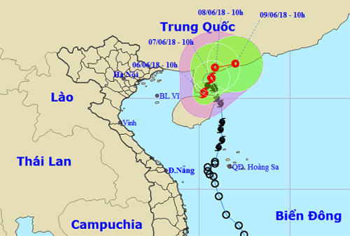 Dự báo đường đi và khu vực ảnh hưởng của bão. Ảnh: NCHMF.