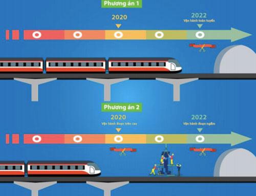 Hai phương án vận hành đoạn trên cao và đoạn đi ngầm.Đồ hoạ: MRB