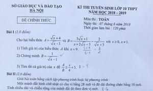 Đề Toán thi vào lớp 10 ở Hà Nội