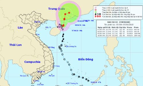 Dự báo đường đi và khu vực ảnh hưởng của bão. Ảnh:NCHMF