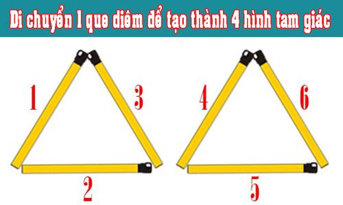 Di chuyển que diêm nào để tạo thành 4 hình tam giác?