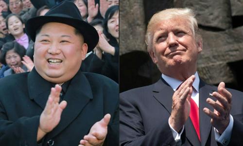 Tổng thống Mỹ Donald Trump (phải)và lãnh đạo Triều Tiên Kim Jong-un. Ảnh: AFP.