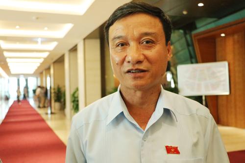 Đại biểu Bùi Văn Xuyền trao đổi với báo chí bên hành lang Quốc hội sáng 8/6. Ảnh: Võ Hải.