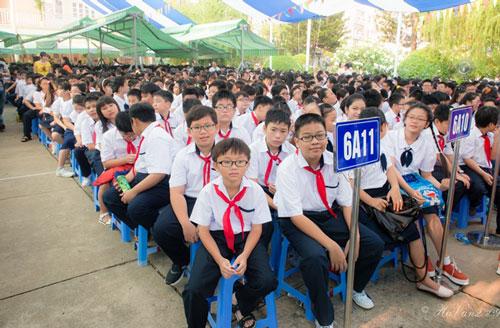 Lễ khai giảng của trường Trung học Thực hành Sài Gòn. Ảnh: thuchanhsaigon.edu.vn
