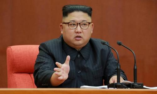 Lãnh đạo Triều Tiên trong một cuộc họp vào tháng 4/2018. Ảnh: KCNA.