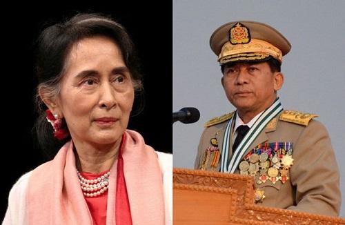 Nữ Cố vân Nhà nước Suu Kyi và Tổng tư lệnh quân đội Myanmar Min Aung Hlaing. Ảnh: AFP.