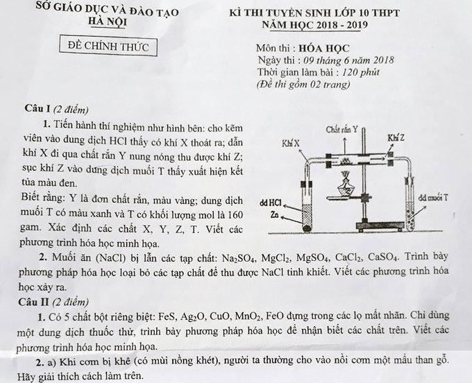 Đề Hóa thi vào lớp 10 chuyên của Hà Nội