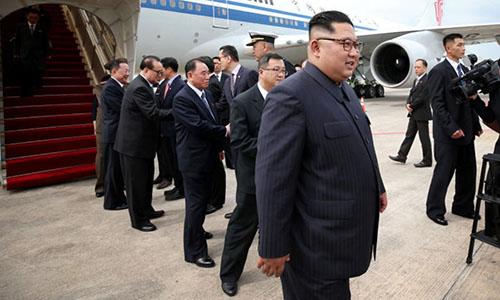 Lãnh đạo Triều Tiên Kim Jong-un đến Singapore hôm nay. Ảnh: MCI.