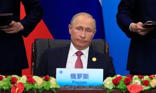 Tổng thống Nga Putin tại hội nghị thượng đỉnh SCO ở Thanh Đảo, Trung Quốc ngày 10/6. Ảnh: Reuters.