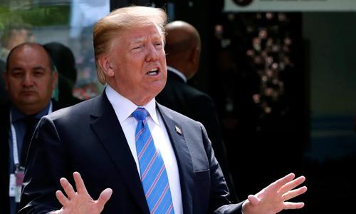 Tổng thống Mỹ Donald Trump phát biểu tại Hội nghị Thượng đỉnh G7 hôm 9/6. Ảnh: Reuters.