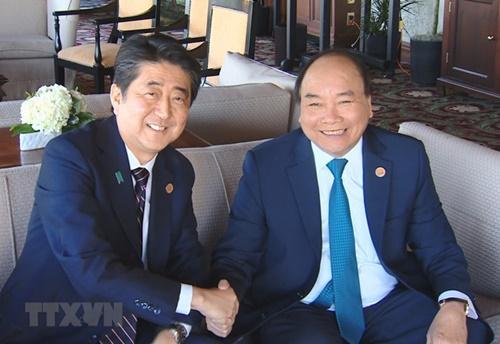 Thủ tướng Nguyễn Xuân phúc gặp mặt Thủ tướng Shinzo Abe trong khuôn khổ hội nghị G7 mở rộng. Ảnh: TTXVN.
